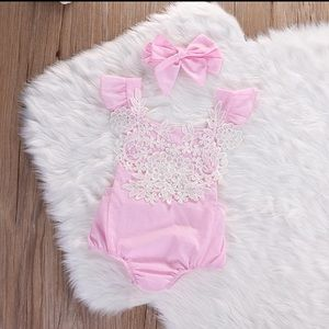 Pretty in Pink Baby Romper and Headband